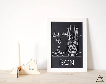 Barcelona city A4 papercut art - Minimal black and white art - Wanderlust unique gift - Frameable wall art - Home decor artwork