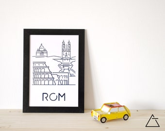 Rome city A4 papercut art - Minimal black and white art - Wanderlust unique gift - Frameable wall art - Home decor artwork