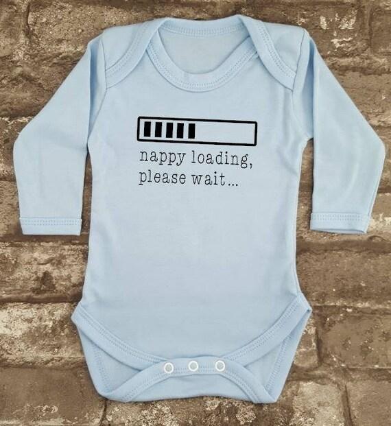 "Funny Baby Bodysuit /""Nappy Loading please wait.../"" Babygrow Newborn Gift"
