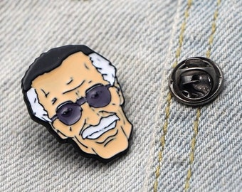 abf7527ac89 Stan Lee enamel pin - Marvel inspired pins - Superheroes Iron Man Avengers  Thor Spider Man