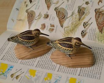 Jack snipe Lymnocryptes minimus Wooden bird figurine