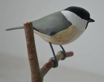 The Marsh Tit / Poecile palustris - bird figurine - wood carved bird song