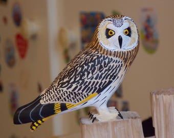 Short-eared Owl - Asio flammeus - bird sculpture