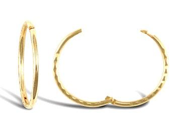 9ct Yellow Gold 20mm Sleeper Hoop Earrings