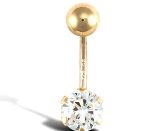 Belly Bar Body Jewellery 9ct White Gold. Cubic Zirconia Cz