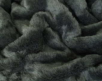 gray fur blanket bed badger dark grey faux fur throw for bed or sofa main fur both sides double thickness gray blanket throw gray furry blanket suede etsy
