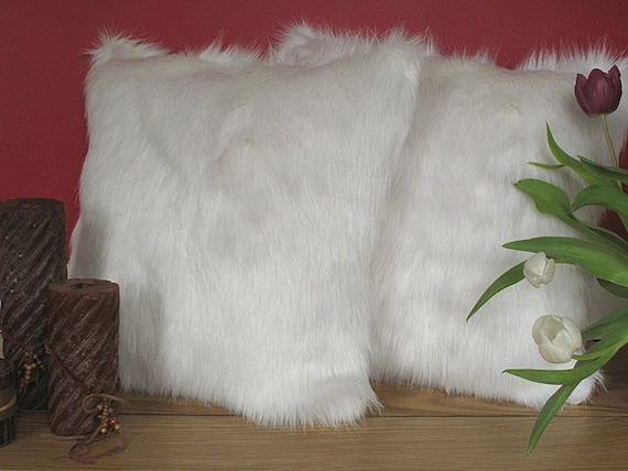 Deluxe Polar Off White Faux Fur Cushion Covers Cushions Etsy