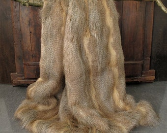 Golden Pheasant Faux Fur Throw, quality fur blanket, fake fur bedspread, bed or sofa throw with brown faux-suede lining in a range of sizes.