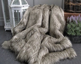 Raccoon long haired Faux Fur Throw, quality fur blanket, fake fur bedspread, bed or sofa throw with faux-suede lining in a range of sizes.