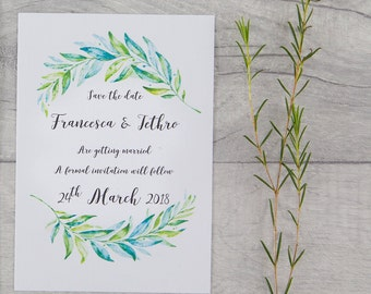 20 x Save the date, Water colour, greenery, wedding stationery, wedding invitations, Wedding, Save the date cards