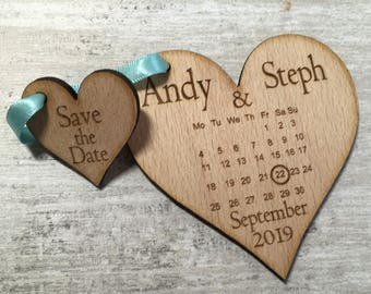 20 x wooden save the date, save the date, wooden heart, wedding heart, calendar save the date