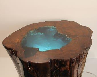 Modern Organic Illuminated Resin Filled Wood Tree Stump Side End Table    Custom Furnishings