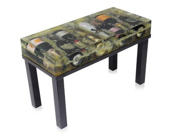 Champagne Bottle Encased Coffee Table