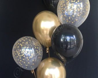 Black Gold Confetti Balloons Wedding Party Decorations Metallic Chic