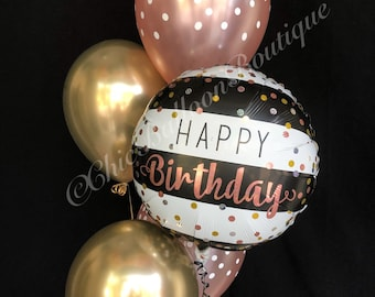 ROSE GOLD Confetti Balloons Black And White Striped Bouquet Birthday Gold Chrome