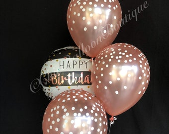 rose gold confetti balloons black and white striped balloons bouquet birthday balloons confetti balloons