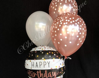 rose gold confetti balloons black and white striped balloons bouquet birthday balloons confetti balloons pearl white balloons