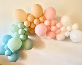 Boho Balloon Garland Kit - Pearl White Pink Cameo Mint Sea Glass Matte Balloons - Boho Muted Rainbow Arch - Boho Shower - First Birthday