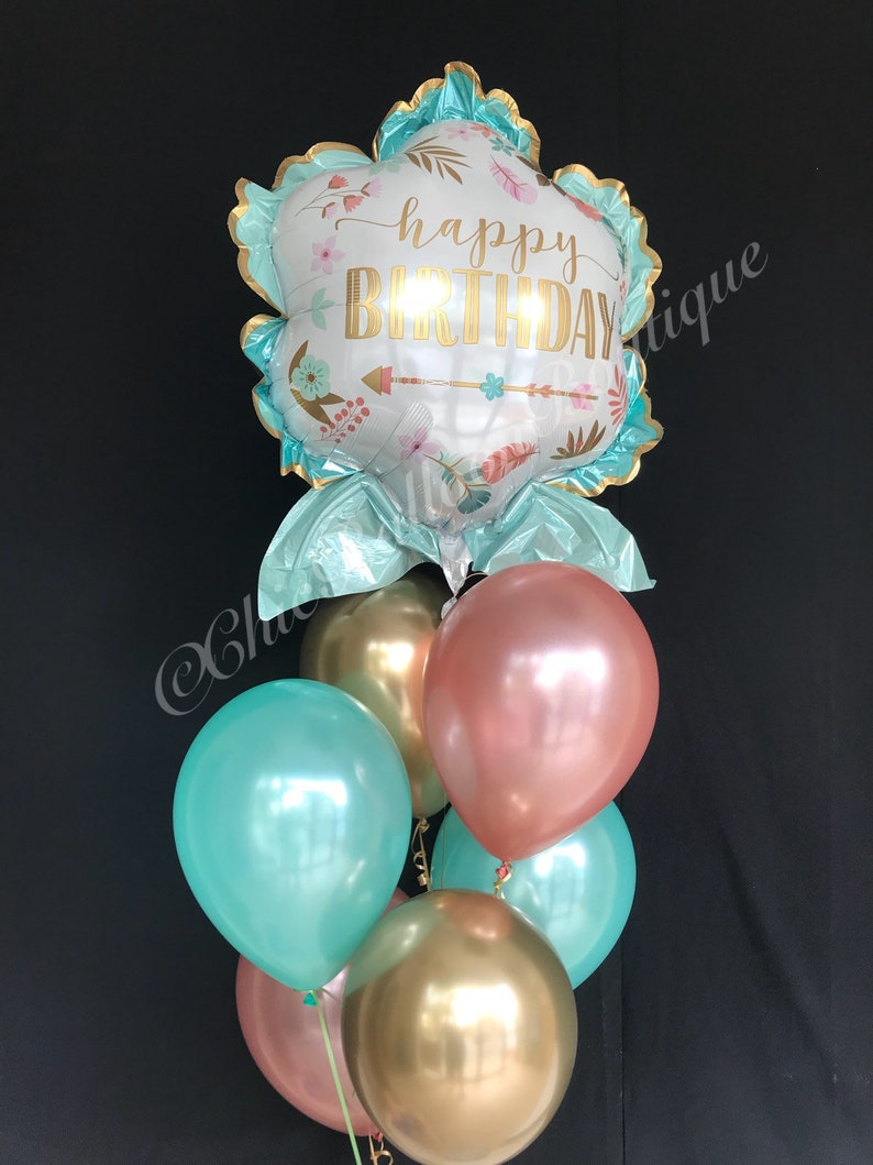 Chrome Gold Rose Mint Balloons Tribal Birthday First Brithday Boho Floral Party Garden