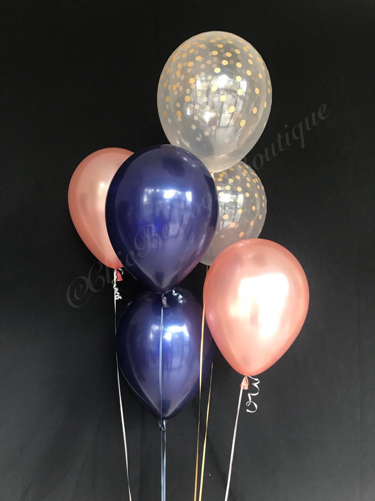 Rose Gold Navy Gold Confetti Balloons Bridal Shower Balloons Etsy