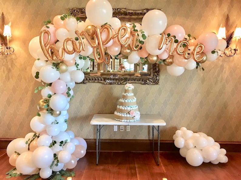 Blush Pink Balloon Garland ~ White Peach Blush Pink Gold, Baby Shower  Balloons, Bridal Shower Garland, Custom Script Letter Balloons
