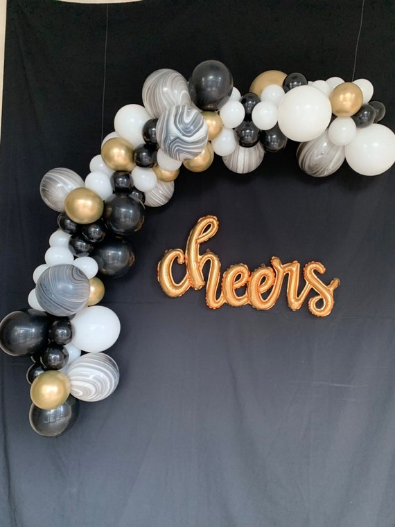 Cheers Gold Script Balloon Cheers Balloons Engagement Party Bridal Shower Balloons Bachelorette Cheers Balloon Banner Anniversary Wedding