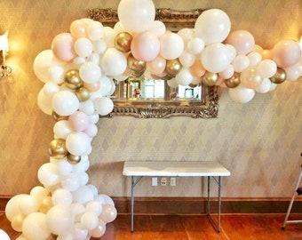 Blush Pink Balloon Garland - White Peach Gold Pink Blush - Balloon Garland Kit - Baby Shower Balloons - Bridal Shower Decorations