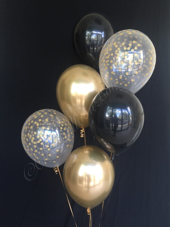Black Gold Confetti Balloons New Years Eve Balloons Wedding Decorations Black And Gold Decorations Anniversary Balloon Birthday