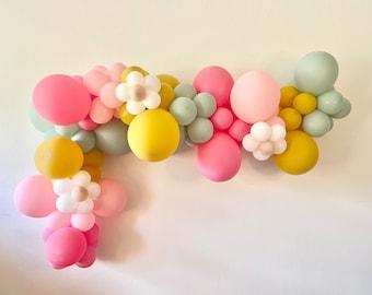 Flower Balloon Garland DIY Kit - Rose Mustard Pink Mint - Retro Balloons - Matte - Boho Flower Arch - Baby Shower - 70s - 60s - Flower Power