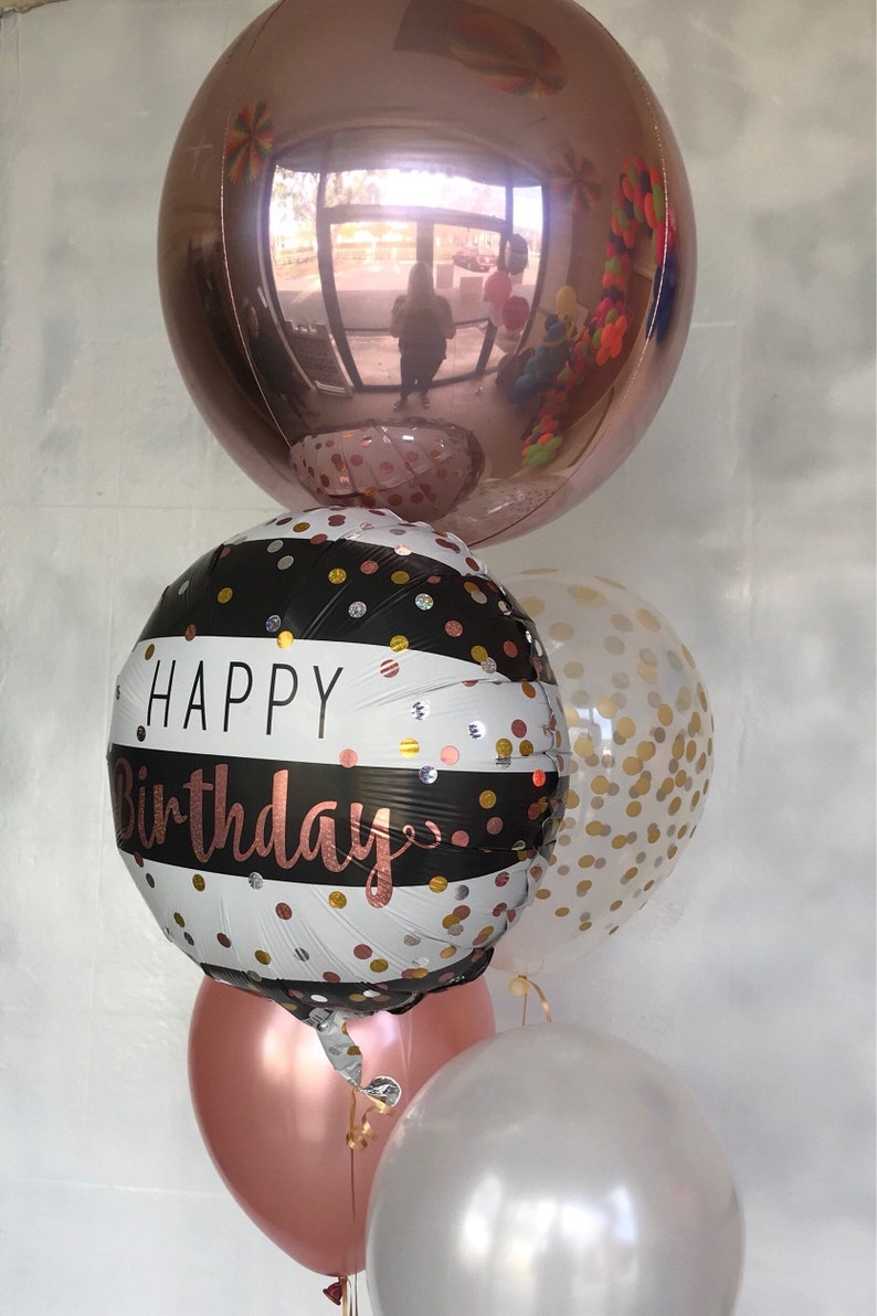 Rose Gold Balloons Happy Birthday Confetti