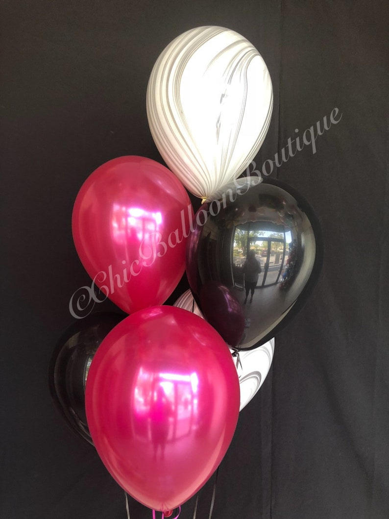 Marble Balloons Magenta And Black Balloons Sweet 16 Etsy