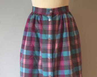 df578fcf7 80s Vintage Plaid Check Summer Midi Skirt / Pink, Light Blue / High-Waist /  Button Down / Woman / Small