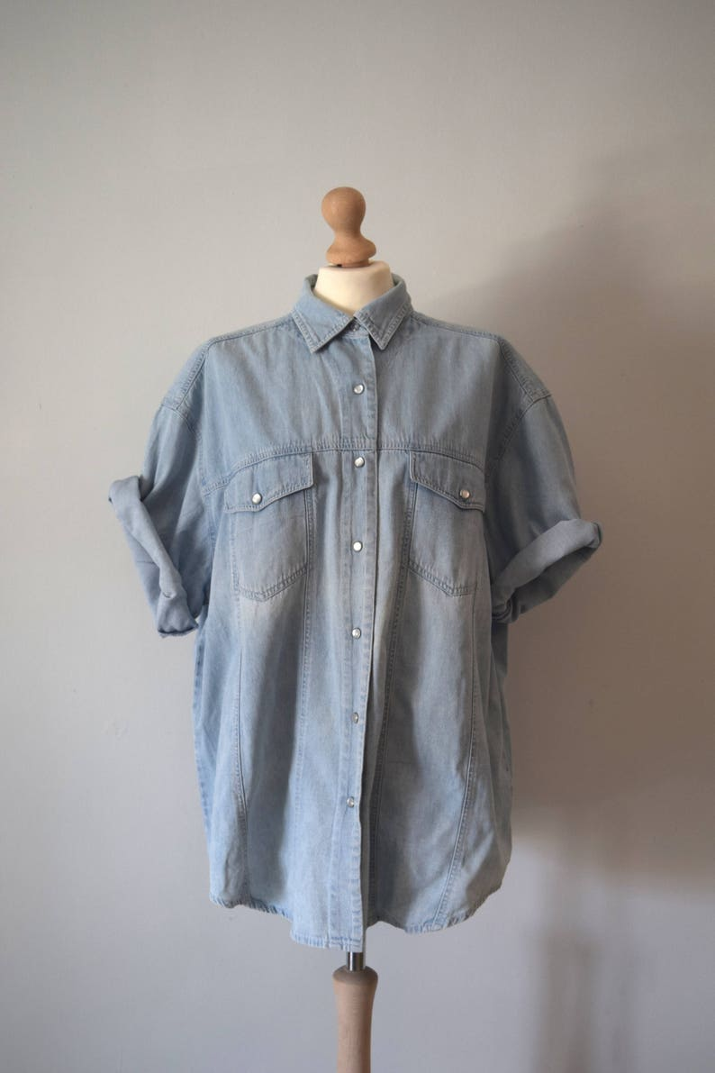 7cec4e1f Vintage Denim Button Down Shirt / Light Blue Denim / Jean Shirt / Short  Sleeved Shirt / Snap Buttons / Men and Women / XL