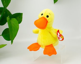 """for sale online Quackers The Duck 6/"""" Plush Toy Ty Beanie Babys 4024"""
