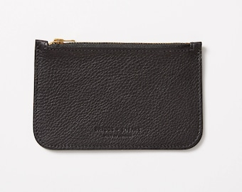 Leather Zip Purse - Black