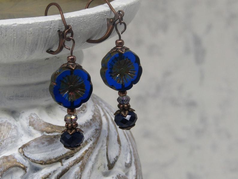 Cobalt Blue Hawaiian Flower Beaded Earrings