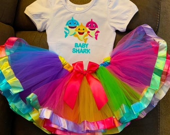 c06b74f88 BABY SHARK Birthday 1 1st first year old - 2 piece - tutu Outfit Girl Baby  Toddler