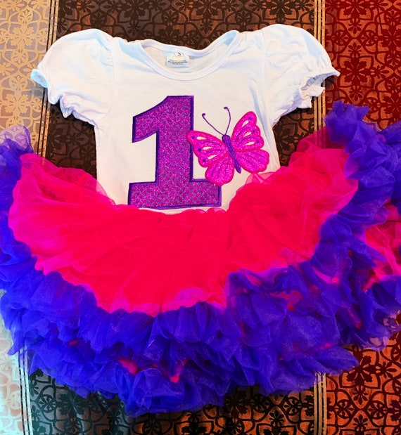 BUTTERFLY Birthday 1 year old Fuchsia tutu party Dress Girl Baby Toddler