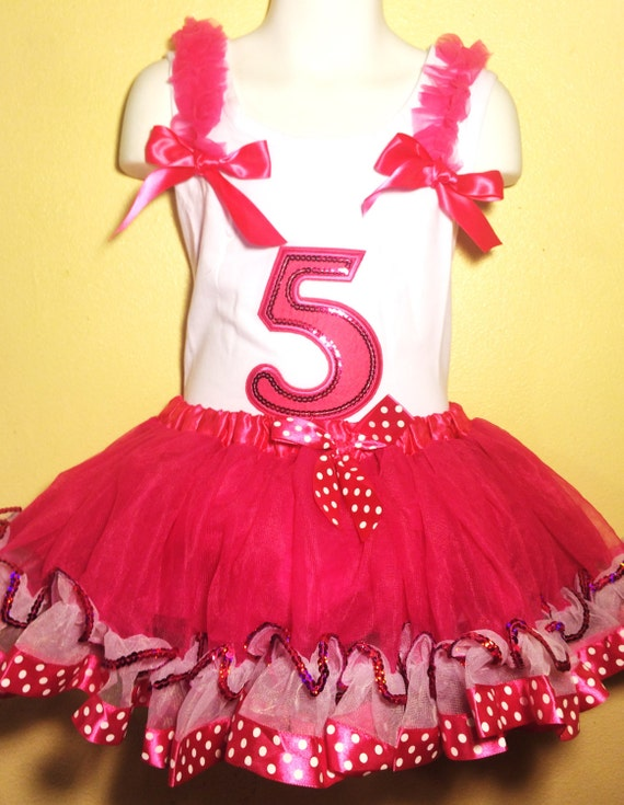 Minnie Mouse Dress Birthday 5 Year Old HOT PINK Girl