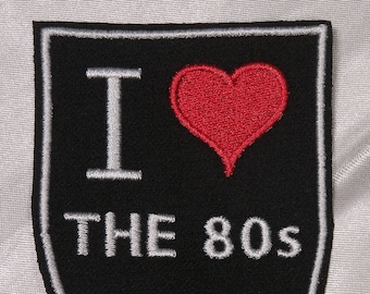 Embroidered Retro Vintage Style I Love The 80s 1980s Black Shield Patch  Iron On Sew On USA d9002ad0b682