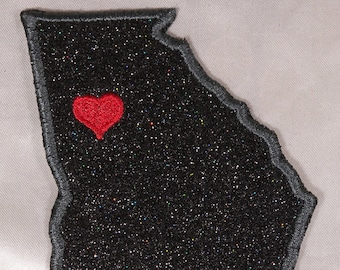 Embroidered Black Glitter Sparkle Georgia GA Love Heart State Souvenir Patch Iron On Sew On USA