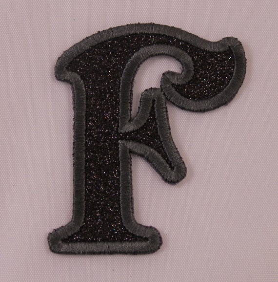 Embroidered Glitter Deep Purple Bubble Monogram Letter I Applique Patch Iron On
