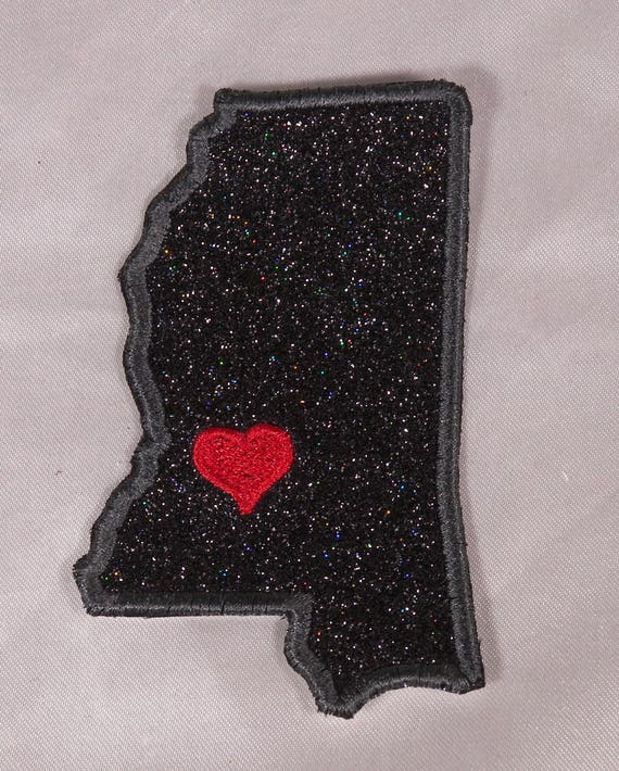 Embroidered Retro Vintage Style I Love Mississippi MS State Pride Patch Iron On