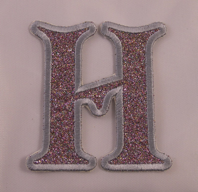 Embroidered Glitter Jet Black Retro Mod Monogram Letter I Applique Patch Iron On