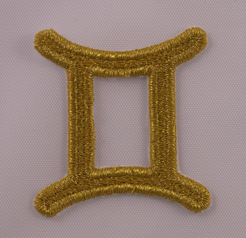 Embroidered Metallic Golden Horoscope Zodiac Libra Scales Gold Patch Iron On