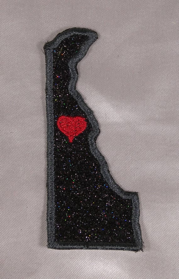 Embroidered Black Glitter Sparkle New Jersey NJ Love State Patch Iron On Sew USA
