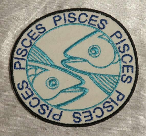 Embroidered Gold Glitter Horoscope Zodiac Pisces Fish Sign Patch Iron On Sew On