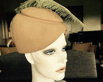 Vintage Wool Hat with Ostrich Feather