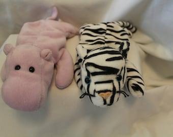 88c7b13abc5 Ty ORIGINAL Beanie Babies Lot of 2 Retired Rare Happy Hippo Blizzard Zebra  MINT