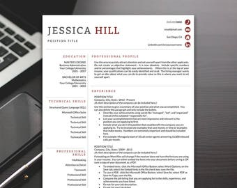 Professional Resume Template - Resume Template, Modern Resume Template, Resume Template Word - RESUME TEMPLATE iNSTANT dOWNLOAD
